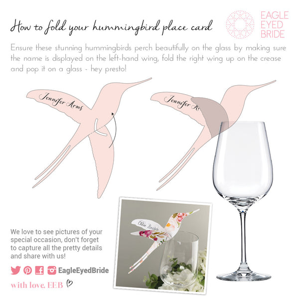 Love Lace Metallics Hummingbird Wine Glass Place Card, blank