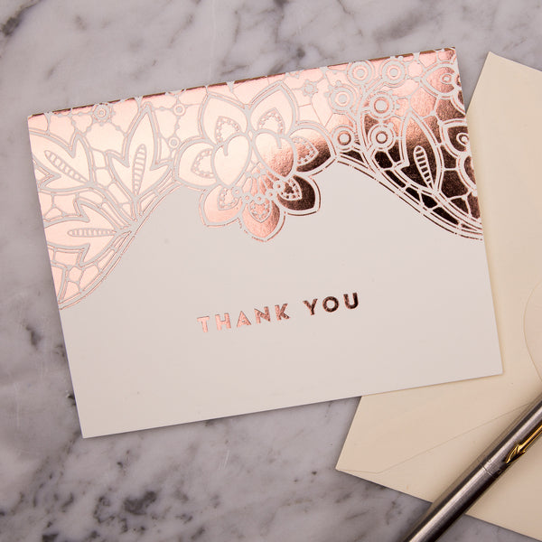 Modern Metallics Lace Foiled Thank You Cards - Pack of 10