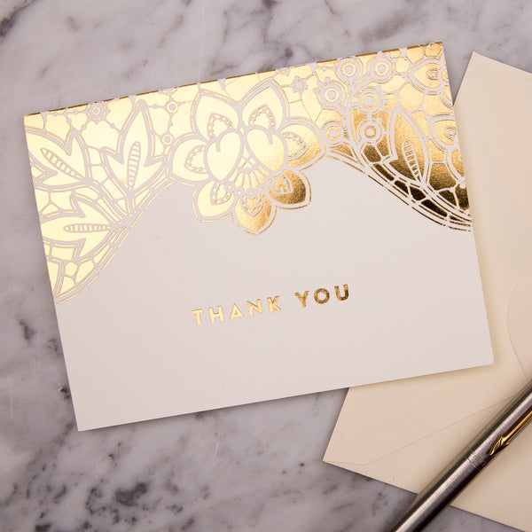 Modern Metallics Lace Foiled Thank You Cards