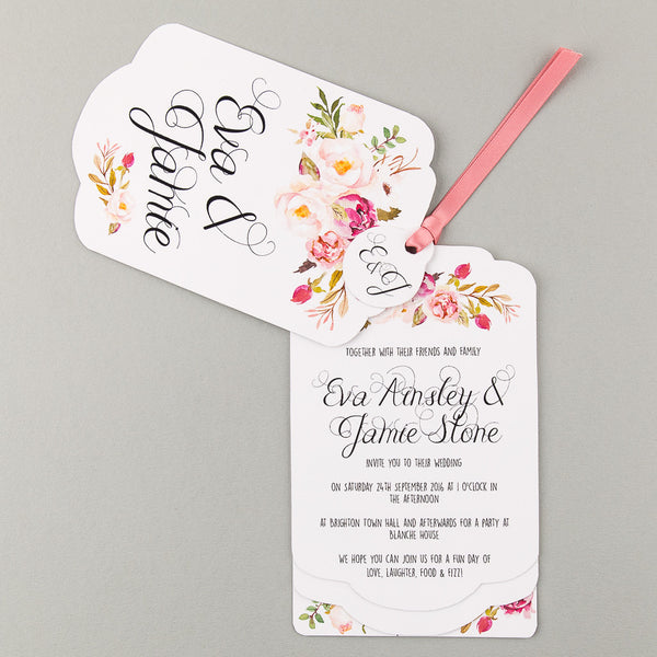 Floral Affair Luxe Wedding Invitation suite in Pink