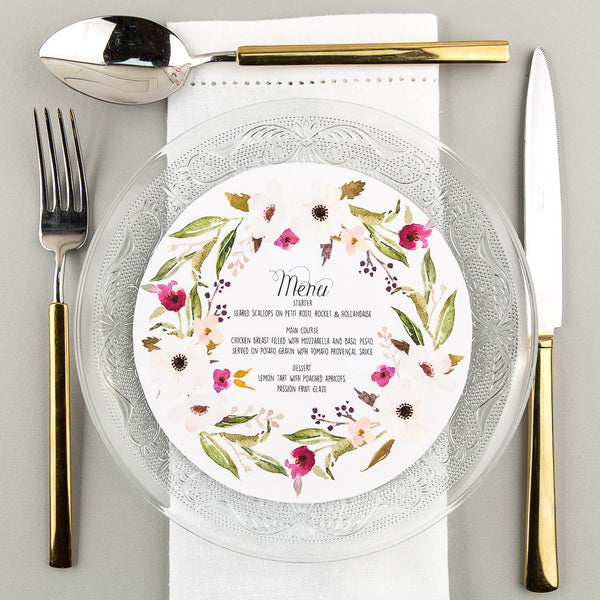 Floral Affair Round Plate Menu, 5 colour options