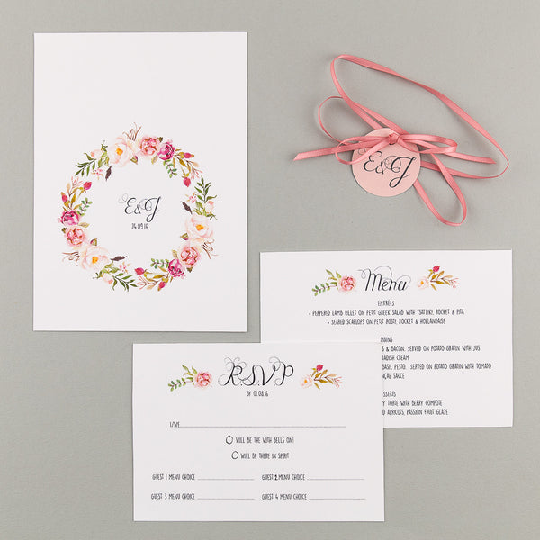 Floral Affair Wedding Invitation suite in Pink