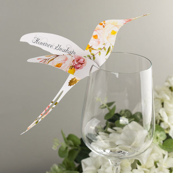 Sample - Floral Affair Hummingbird Wine Glass Place Card in Yellow