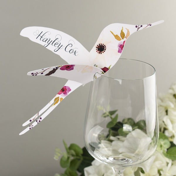 Sample - Floral Affair Hummingbird Place Card in White/Fuchsia