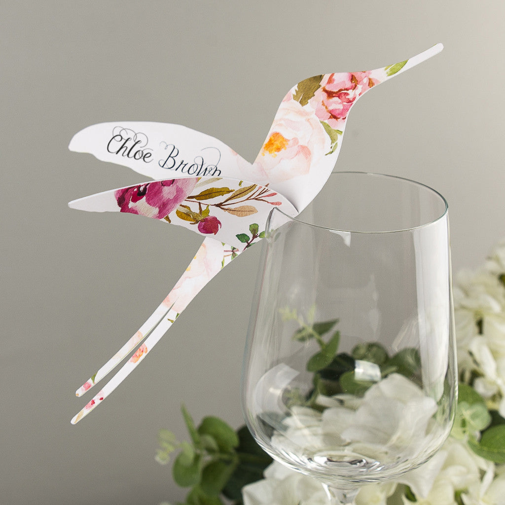 Floral Affair Hummingbird Wine Glass Place Cards Or Escort Card