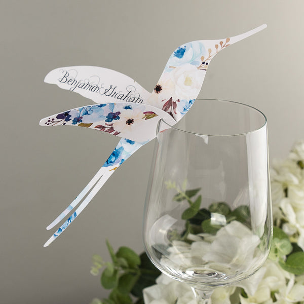 Sample - Floral Affair Hummingbird Wine Glass Place Card in Indigo