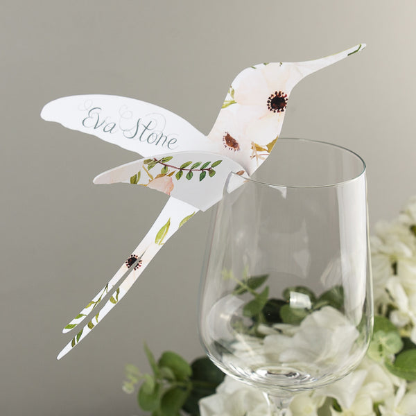 Floral Affair Hummingbird Wine Glass Place Cards or Escort card, blank