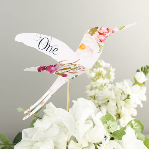 Pack of Floral Affair Hummingbird Table Numbers
