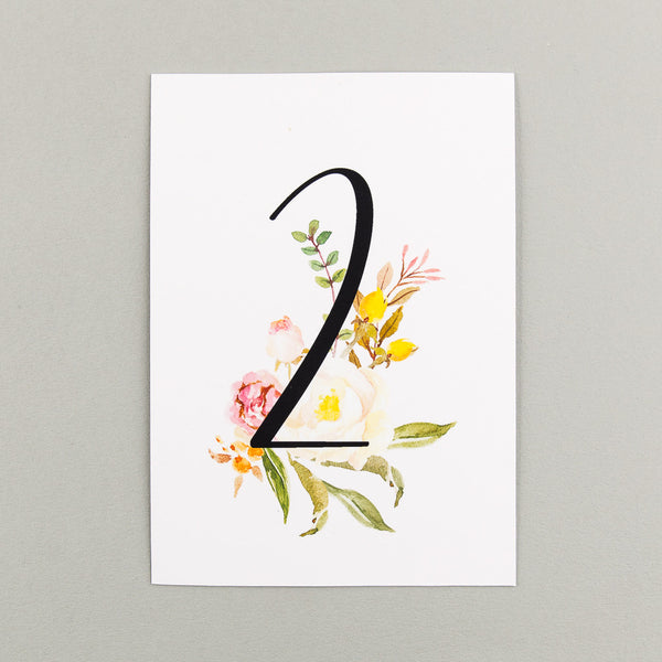 Floral Affair Classic Table Numbers, pack of 12