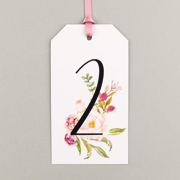 Pack of Floral Affair Tag Table Numbers, 5 colour options