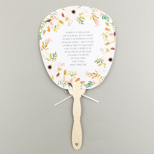 Floral Affair Order of the Day Fan, 5 colour options