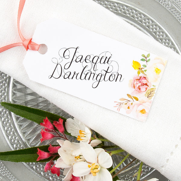 Floral Affair Luggage Tag Place Card, personalised