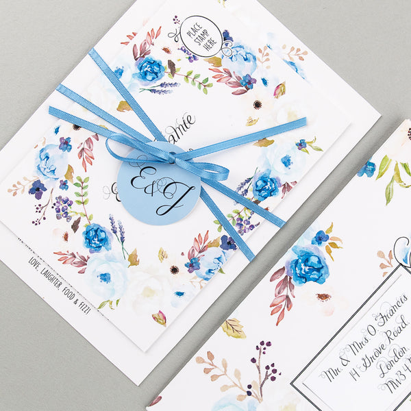 Floral Affair Invitation suite in Indigo
