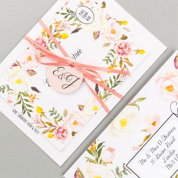 Floral Affair Invitation suite in Yellow