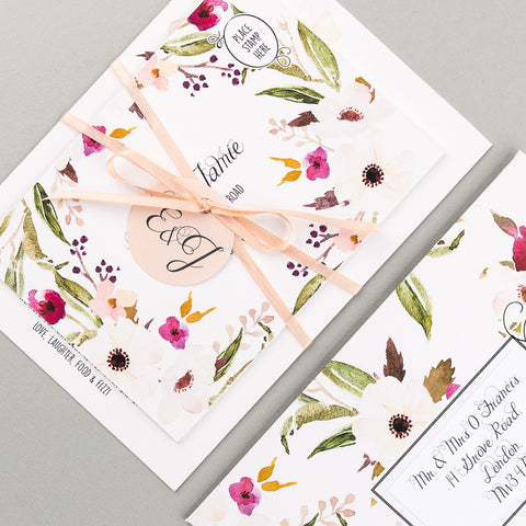 Floral Affair Invitation suite in White/Fuchsia