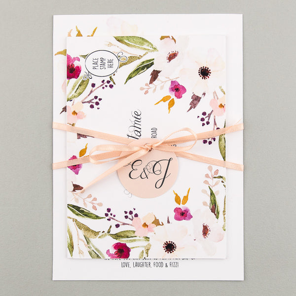 Sample - Floral Affair Invitation in White/Fuchsia