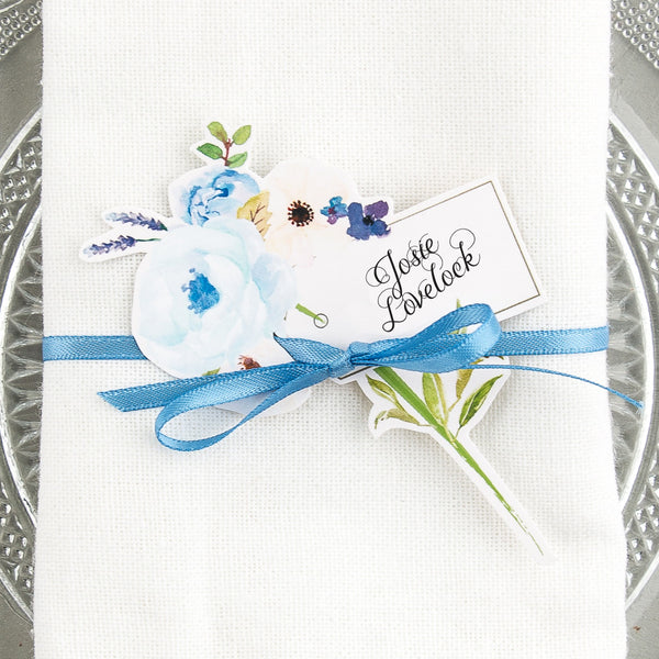 Floral Affair Corsage Wine Glass Place Card, personalised