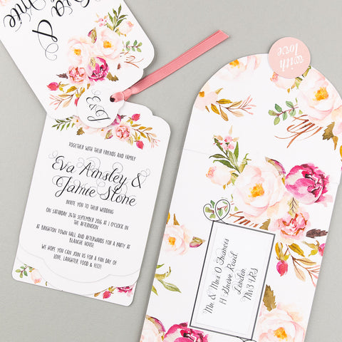 Floral Affair Luxe Invitation in Pink