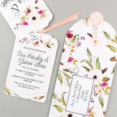 Floral Affair Luxe Invitation in White/Fuchsia