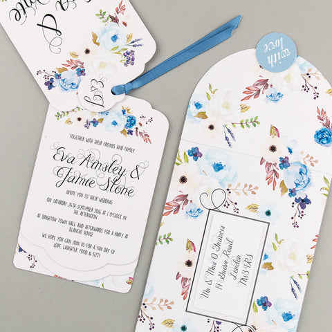 Floral Affair Luxe Invitation suite in Indigo