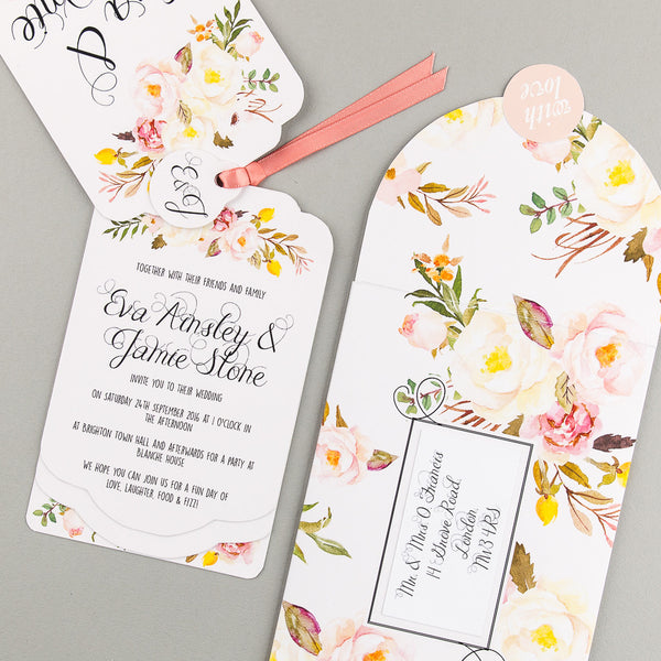 Free sample - Floral Affair Luxe Invitation in Yellow