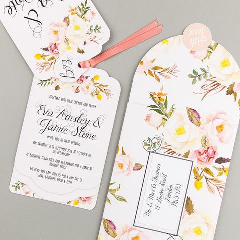 Floral Affair Luxe Invitation suite in Yellow