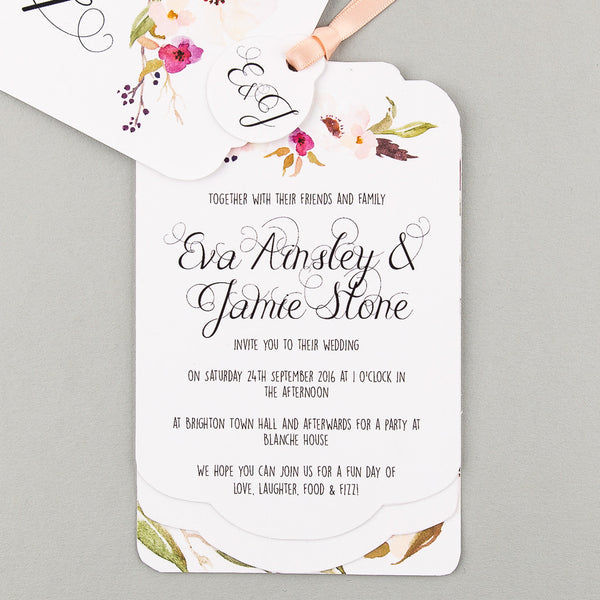 Floral Affair Luxe Wedding Invitation suite in White/Fuchsia