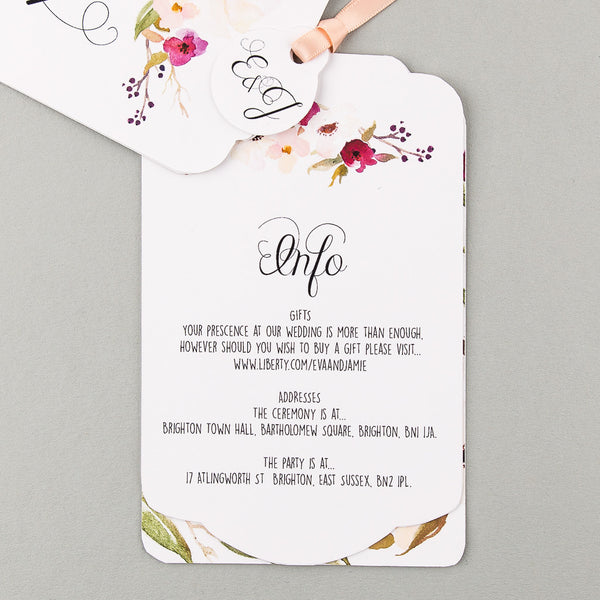 Sample - Floral Affair Luxe Invitation in White/Fuchsia