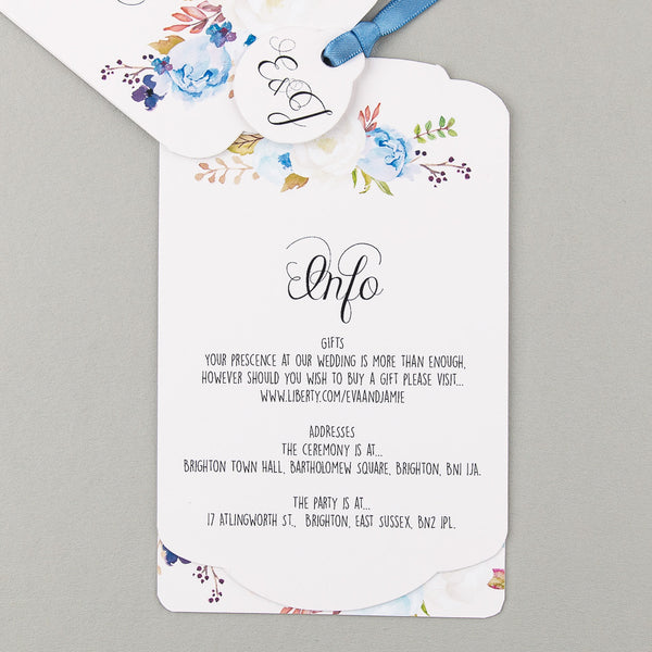 Floral Affair Luxe Wedding Invitation suite in Indigo