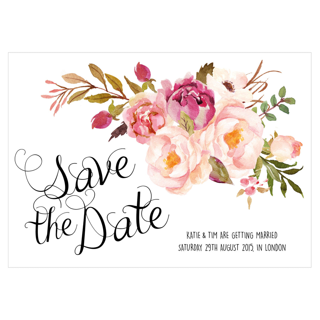 Save The Date Wedding Floral Ornament Wedding Floral: Floral Affair Classic Save The Date, 5 Colour Options