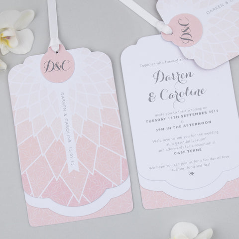 Geo Origami Luxe Invitation suite in Blush
