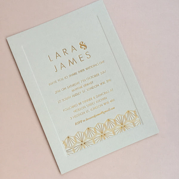 Como Letterpress Invitation suite, Gold foil on Grey