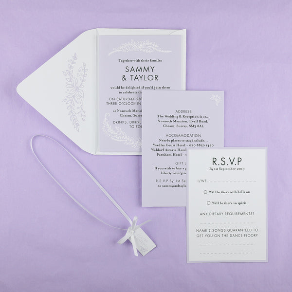 Heritage Sprig Invitation suite in Lilac