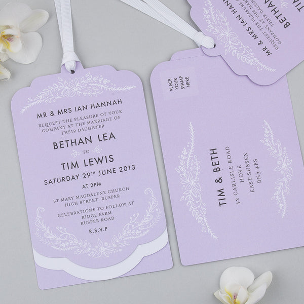 Free Sample - Heritage Sprig Luxe Invitation in Lilac