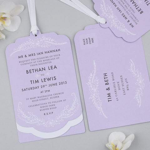 Sample - Heritage Sprig Luxe Invitation in Lilac