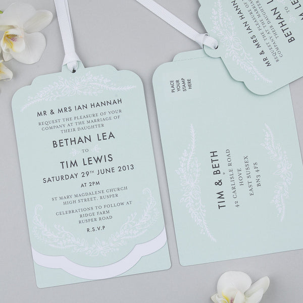 Sample - Heritage Sprig Luxe Invitation in Mint