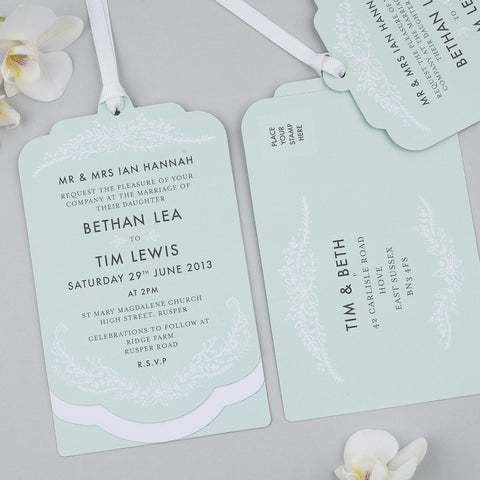Heritage Sprig Luxe Invitation suite in Mint
