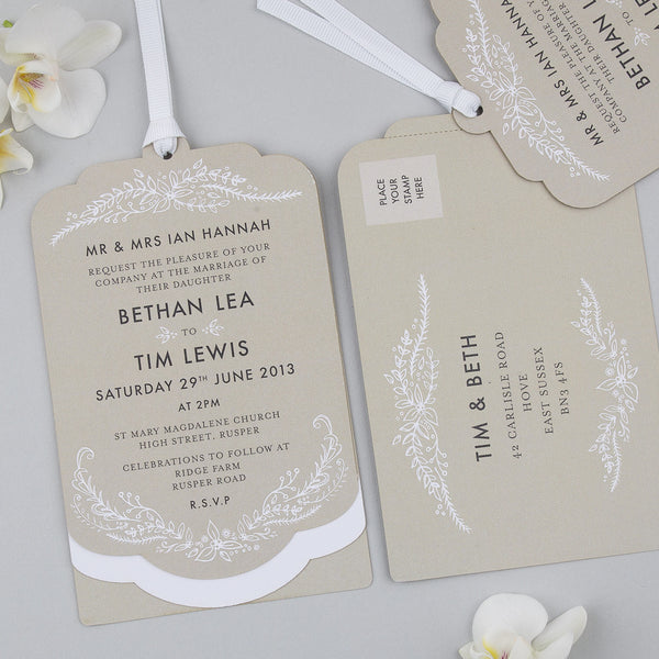 Sample - Heritage Sprig Luxe Invitation Putty