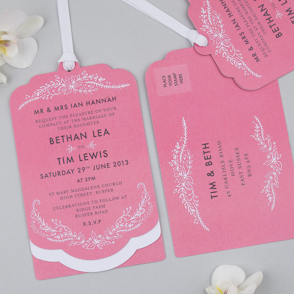 Free Sample - Heritage Sprig Luxe Invitation Raspberry