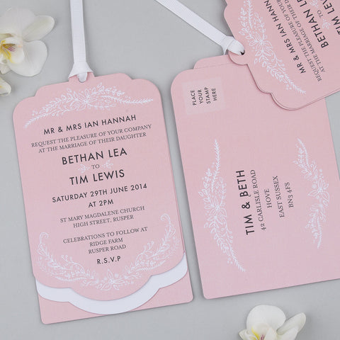 Sample - Heritage Sprig Salmon Luxe Invitation Pink