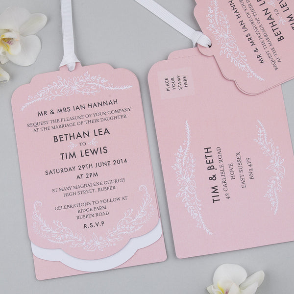Heritage Sprig Luxe Invitation suite in Salmon Pink
