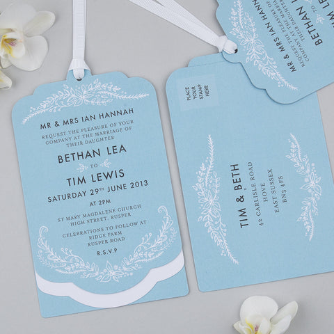 Heritage Sprig Luxe Invitation suite in Sky Blue