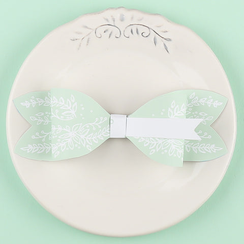 Heritage Sprig Bow Tie Place Card, 4 colour options