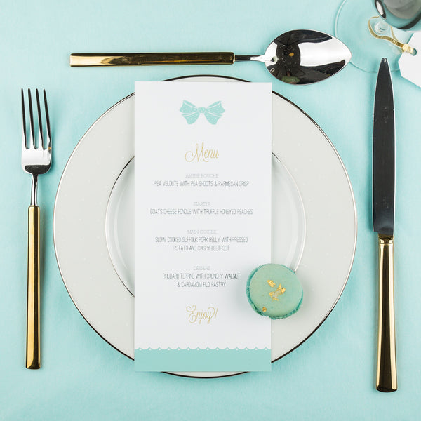 Holly Golightly Classic Menu in Pink & Hepburn Blue