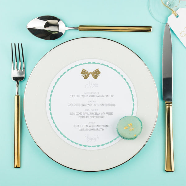 Holly Golightly Round Plate Menu, 2 colour options