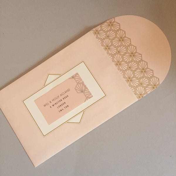 Portofino Luxe Invitation suite in Gold foil on Blush & Navy
