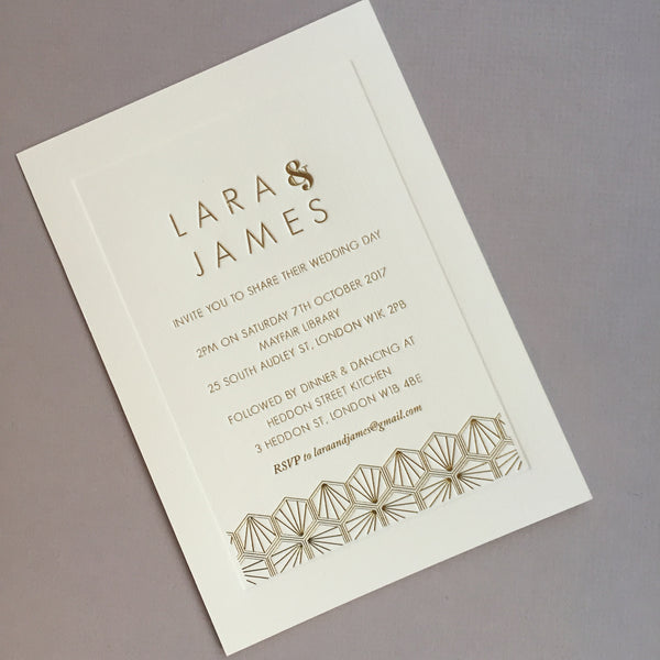 Como Letterpress Invitation suite, Gold foil on Ivory