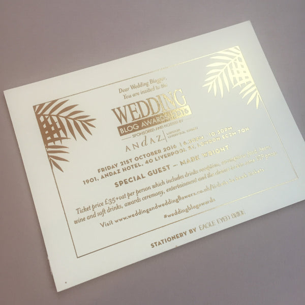 Palms Letterpress Invitation suite, with standard envelope