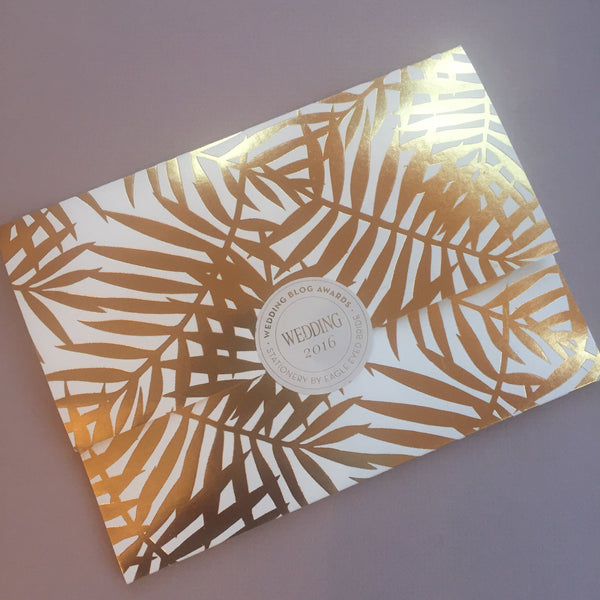 Blush Palms Letterpress Invitation suite, with foiled Palm pocketfold envelope