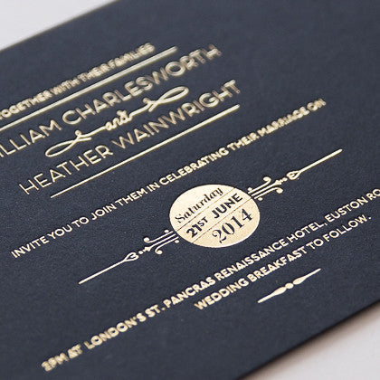 St Pancras Collection Letterpress Invitation, Gold on Black